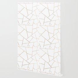 Rose Gold White Geometric Glam #1 #geo #decor #art #society6 Wallpaper
