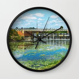 Abbey Mill Weir At Tewkesbury Wall Clock