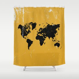 Grunge world map Shower Curtain