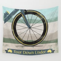 kangaroo Wall Tapestries featuring Tour Down Under Bike Race by Wyatt Design