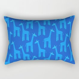 Giraffes-Blue Rectangular Pillow