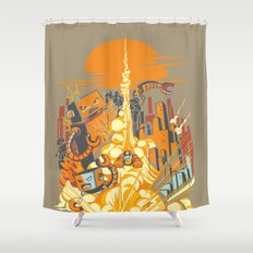 Smash! Zap!! Zooom!! - Butt-Chinned Captain Shower Curtain