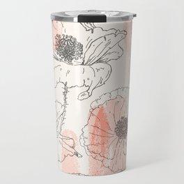 Watercolor Poppies Seamless Print Travel Mug