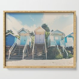beach huts photograph Serving Tray
