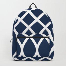 Navy blue seamless geometric pattern Backpack