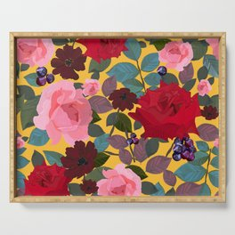 Vintage red pink roses and chocolate cosmos flower pattern yellow background Serving Tray