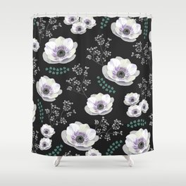 Anemones collection black pattern Shower Curtain