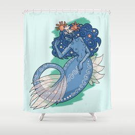 Mermaid Grabs Back Shower Curtain