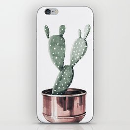 Potted Cactus Rose Gold iPhone Skin