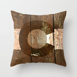 Rustic brown wooden Colorado flag Throw Pillow