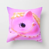 pony Throw Pillows featuring  pony by Vintage  Cuteness