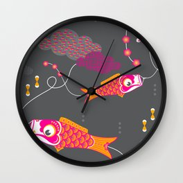 Koi No Bori in the Night Sky Wall Clock