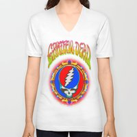 grateful dead V-neck T-shirts featuring Grateful Dead #8 Optical Illusion Psychedelic Design by CAP Artwork & Design