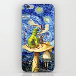 Alice & The Caterpillar Starry Night - Alice In Wonderland iPhone Skin
