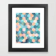 Child's Play 2 - hexagon pattern in soft blue, pink, peach & aqua Framed Art Print