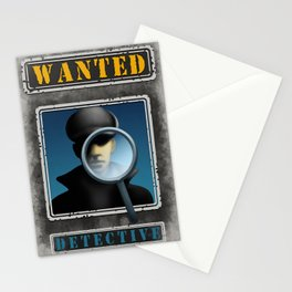 Wanted Detective Illustration Stationery Cards