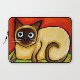 Siamese cat nervous siamese kitty on a cherry pillow art by Tascha Laptop Sleeve
