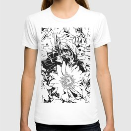 Inky Black and White Floral 1 T-shirt