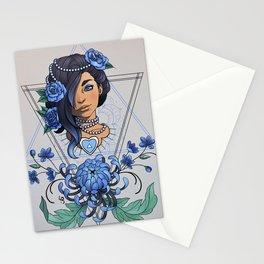 Portrait & Chrysanthemum (blue) Stationery Cards