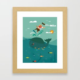 Whales and Pirates Framed Art Print