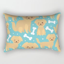 pattern funny golden beige dog and white bones, Kawaii face with large eyes and pink cheeks Rectangular Pillow