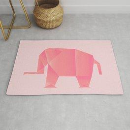 Big, Happy Elephant - Origami Pink Elephant Rug