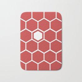 Hexagon Pattern Red Bath Mat