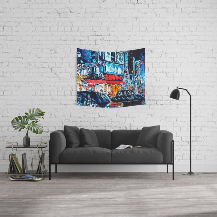 Neon Reflections Wall Tapestry