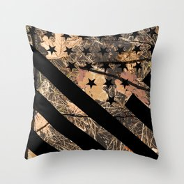 Hunting Camouflage Flag 3 Throw Pillow