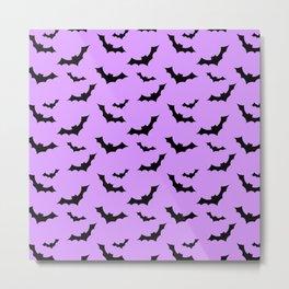 Black Bat Pattern on Purple Metal Print