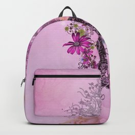 Funny easter bunny with flowers Backpack