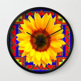 WESTERN BLUE-RED YELLOW SUNFLOWER FLORAL ART Wall Clock