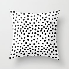 Preppy black and white dots minimal abstract brushstrokes painting illustration pattern print  Throw Pillow