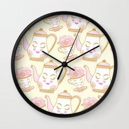 Tea Time Beige Wall Clock