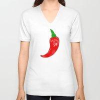 sriracha V-neck T-shirts featuring Chilli Sauce by Carlitos Way