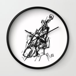 Playing the contrabass Wall Clock