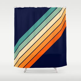 Farida - 70s Vintage Style Retro Stripes Shower Curtain