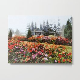 Beautiful garden in a misty day Metal Print