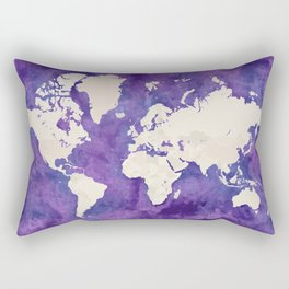 Purple watercolor and light brown world map with outilined countries Rectangular Pillow