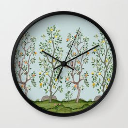 Chinoiserie Citrus Grove Mural Multicolor Wall Clock