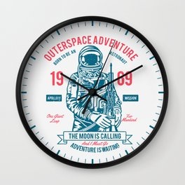 Outer space Adventure - Born to be an astronaut Wall Clock