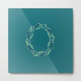 Turquoise flowers alphabet O Metal Print