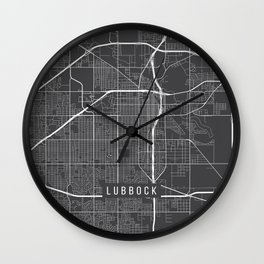 Lubbock Map, USA - Gray Wall Clock