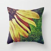 fleur de lis Throw Pillows featuring Sunflower Fleur De Lis by minx267
