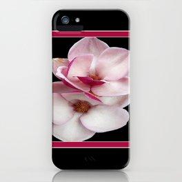tulip magnolia twins (black bg square) iPhone Case