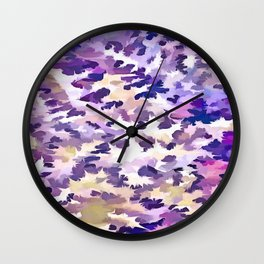 Foliage Abstract Camouflage In Pale Purple and Violet Pastels Wall Clock