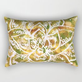Golden Succulent Flower Rectangular Pillow