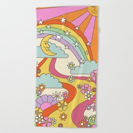 retro hippie boho print  Beach Towel