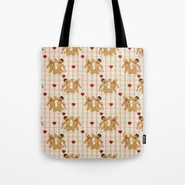 Gingerbread Family Country Plaid Christmas Tote Bag