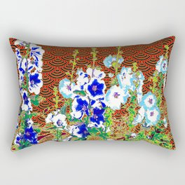 Abstracted Blue & Pink Flowers & Red-Black Oriental Patterns Rectangular Pillow